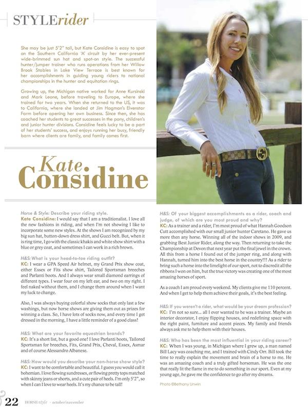 Kate Considine - Equestrian Style